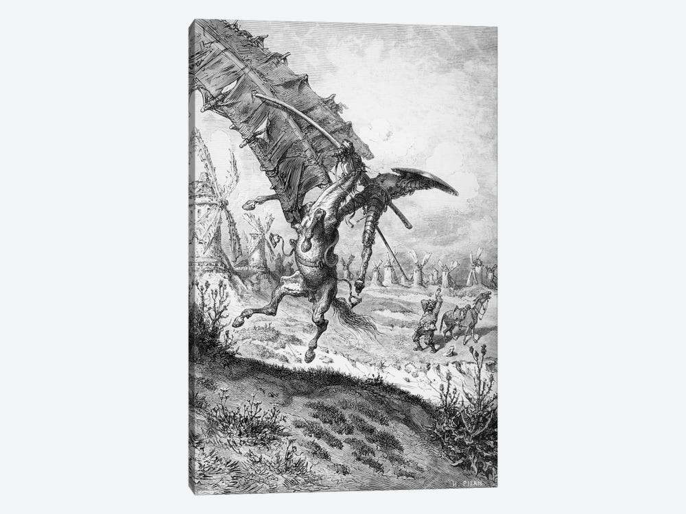 Don Quixote And The Windmills (Illustration From Don Quixote de la Mancha) by Gustave Dore 1-piece Canvas Art Print