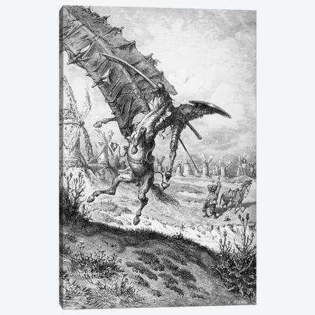 Don Quixote And The Windmills (Illustration From Don Quixote de la Mancha) Canvas Print #BMN6798} by Gustave Dore Canvas Print