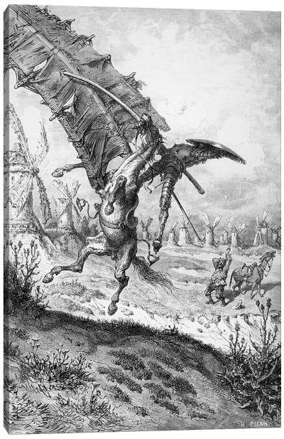 Don Quixote And The Windmills (Illustration From Don Quixote de la Mancha) Canvas Art Print