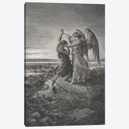 Jacob Wrestling With The Angel, Genesis 32:24-32 (Illustration From Dore's The Holy Bible), 1866 3-Piece Canvas #BMN6800} by Gustave Dore Canvas Art Print