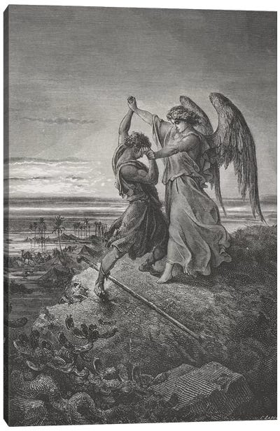Jacob Wrestling With The Angel, Genesis 32:24-32 (Illustration From Dore's The Holy Bible), 1866 Canvas Art Print