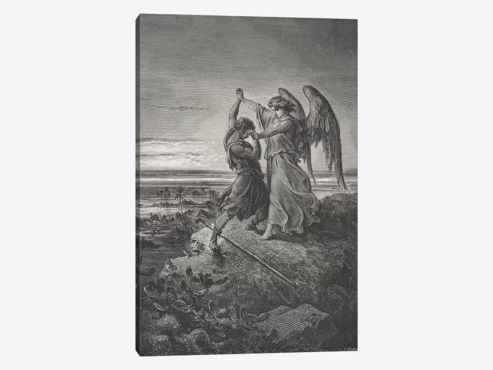 Jacob Wrestling With The Angel, Genesis 32:24-32 (Illustration From Dore's The Holy Bible), 1866 by Gustave Dore 1-piece Canvas Artwork
