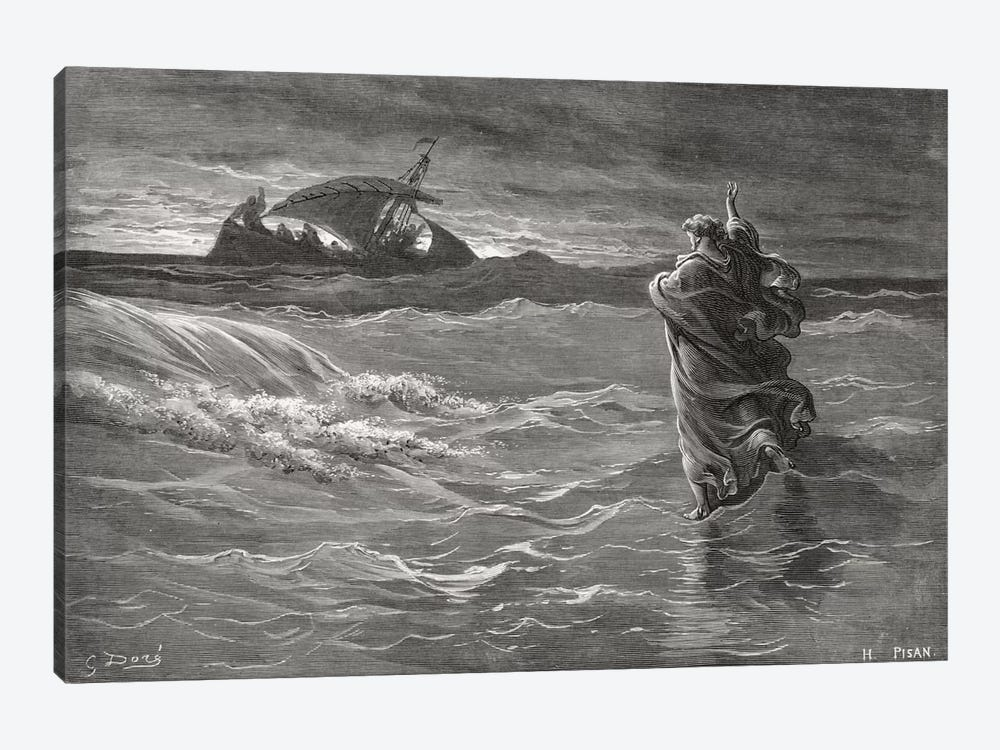 Jesus Walking On The Sea, John 6:19-21 (Illustration From Dore's The Holy Bible), 1866 by Gustave Dore 1-piece Art Print