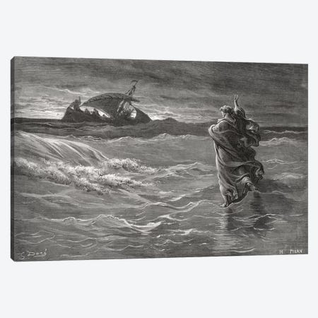 Jesus Walking On The Sea, John 6:19-21 (Illustration From Dore's The Holy Bible), 1866 Canvas Print #BMN6803} by Gustave Dore Art Print