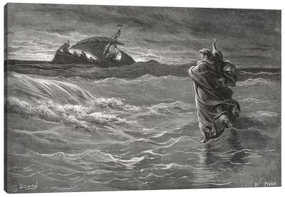 Jesus Walking On The Sea, John 6:19-21 (Illustration From Dore's The Holy Bible), 1866 Canvas Art Print