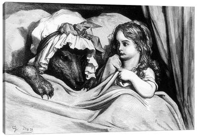 Little Red Riding Hood And The Wolf (Illustration From Les Contes de Perrault) Canvas Print #BMN6804