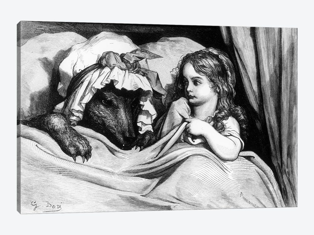 Little Red Riding Hood And The Wolf (Illustration From Les Contes de Perrault) by Gustave Dore 1-piece Canvas Wall Art