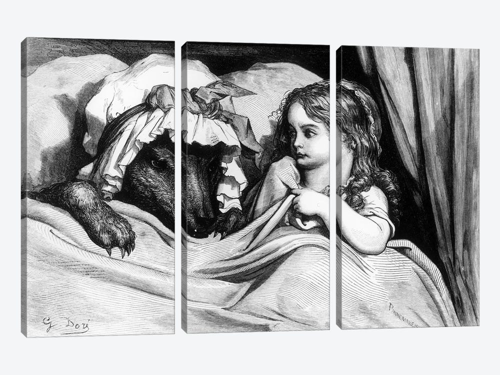 Little Red Riding Hood And The Wolf (Illustration From Les Contes de Perrault) by Gustave Dore 3-piece Canvas Wall Art
