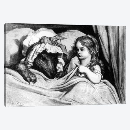 Little Red Riding Hood And The Wolf (Illustration From Les Contes de Perrault) Canvas Print #BMN6804} by Gustave Dore Canvas Art