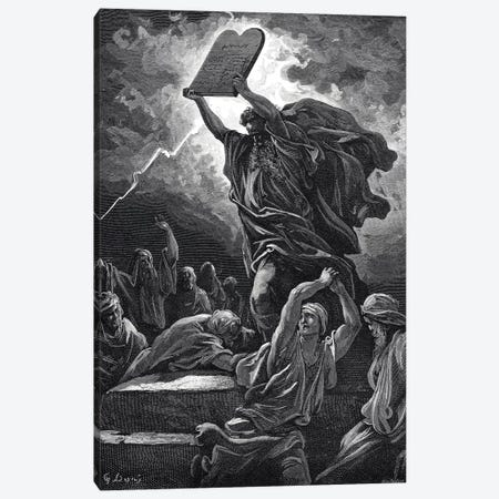 Moses Breaking The Tablets Of Law, Exodus 32:19 (Illustration From Dore's The Holy Bible), 1866 Canvas Print #BMN6806} by Gustave Doré Canvas Artwork