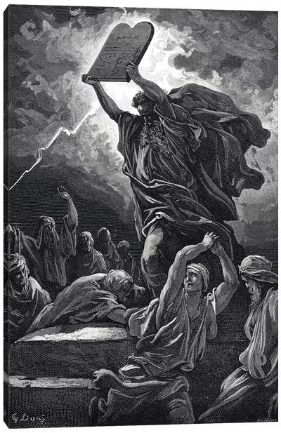 Moses Breaking The Tablets Of Law, Exodus 32:19 (Illustration From Dore's The Holy Bible), 1866 Canvas Art Print