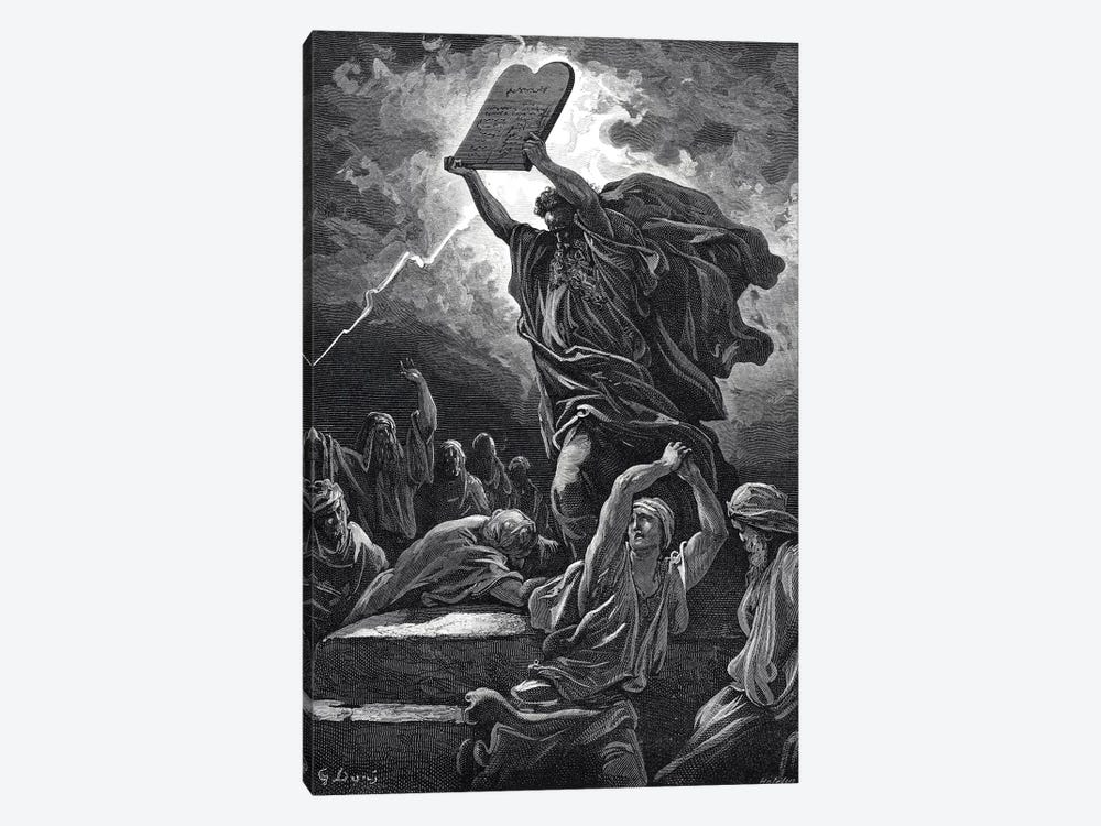 Moses Breaking The Tablets Of Law, Exodus 32:19 (Illustration From Dore's The Holy Bible), 1866 by Gustave Dore 1-piece Canvas Artwork