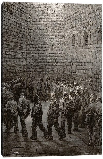Newgate - Exercise Yard (Illustration From Jerrold's London, A Pilgrimage) Canvas Art Print