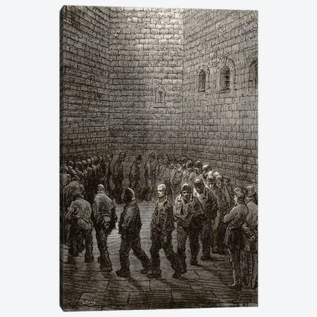 Newgate - Exercise Yard (Illustration From Jerrold's London, A Pilgrimage) Canvas Print #BMN6807} by Gustave Dore Canvas Wall Art