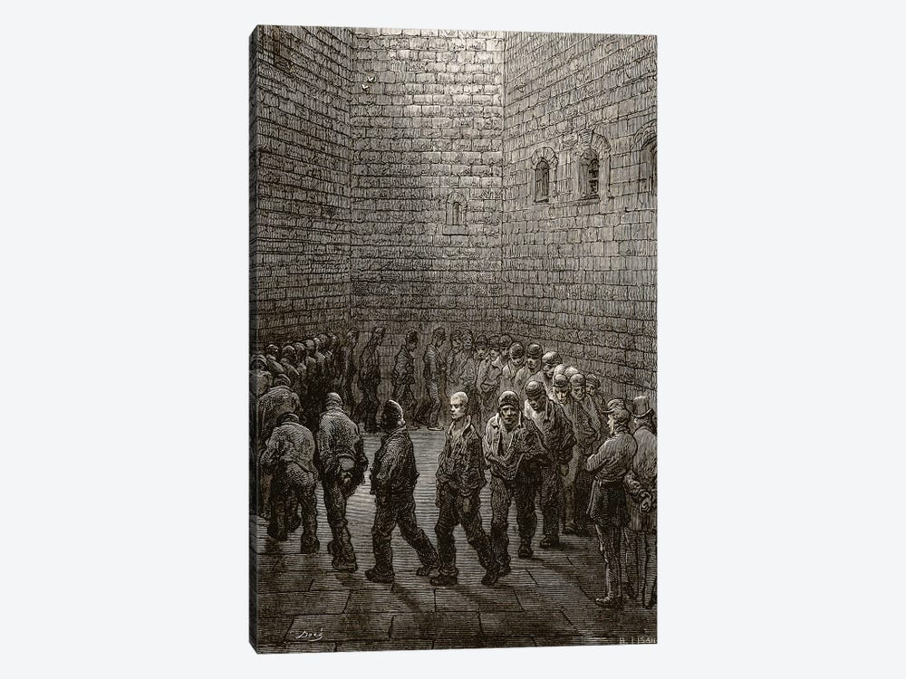 Newgate - Exercise Yard (Illustration From Jerrold's London, A Pilgrimage) by Gustave Dore 1-piece Canvas Art Print