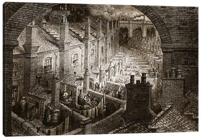 Over London - By Rail (Illustration From Jerrold's London, A Pilgrimage) Canvas Art Print