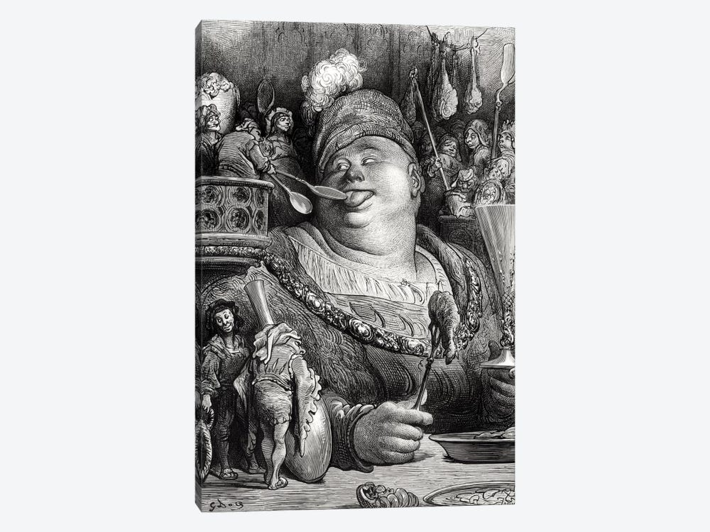Pantagruel's Meal (Illustration From Rabelais' Pantagruel) by Gustave Dore 1-piece Canvas Print
