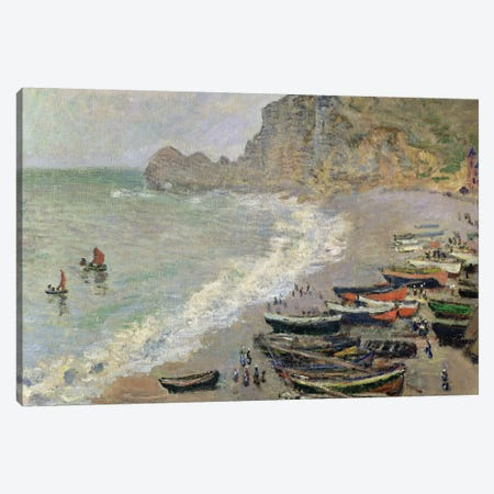 Etretat, beach and the Porte d'Amont, 1883  Canvas Print #BMN680} by Claude Monet Canvas Wall Art