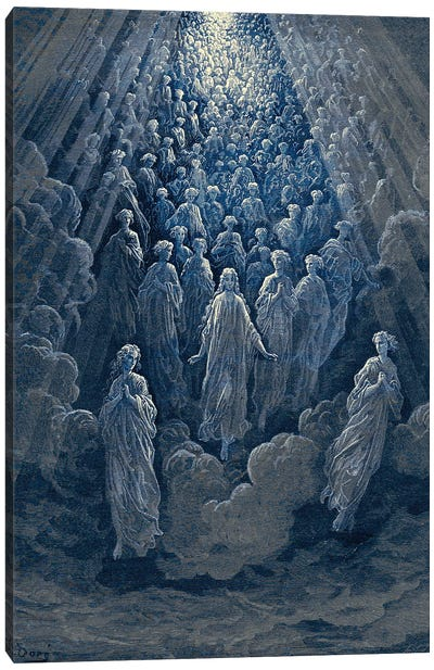 The Angels In The Planet Mercury: Beatrice Ascends With Dante To The Planet Mercury In Blue (Dante's Divine Comedy: Paradiso) Canvas Art Print