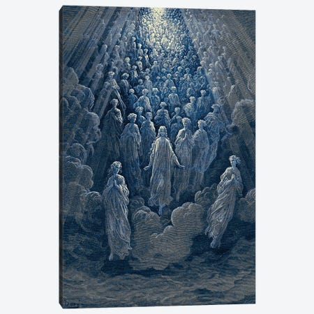 The Angels In The Planet Mercury: Beatrice Ascends With Dante To The Planet Mercury In Blue (Dante's Divine Comedy: Paradiso) Canvas Print #BMN6812} by Gustave Dore Canvas Artwork