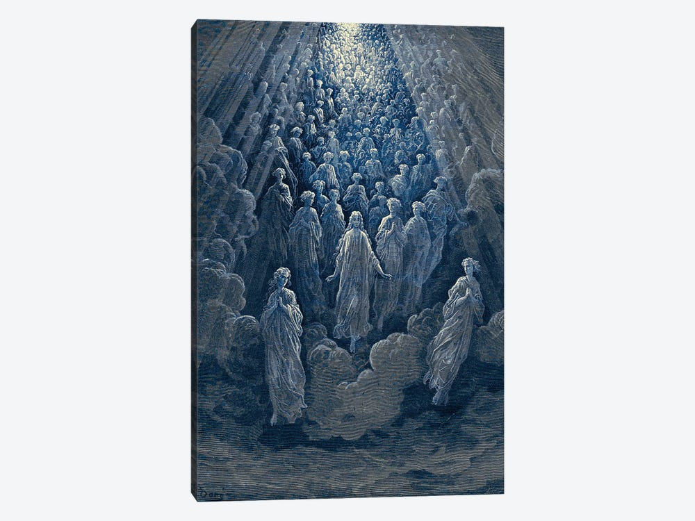 The Angels In The Planet Mercury: Beatrice Ascends With Dante To The Planet Mercury In Blue (Dante's Divine Comedy: Paradiso) by Gustave Dore 1-piece Canvas Art Print