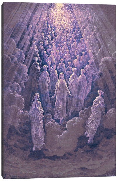 The Angels In The Planet Mercury: Beatrice Ascends With Dante To The Planet Mercury In Purple (Dante's Divine Comedy: Paradiso) Canvas Art Print