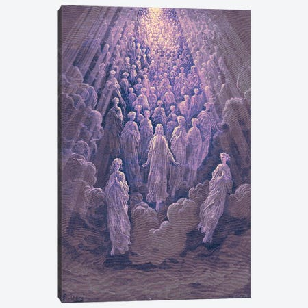 The Angels In The Planet Mercury: Beatrice Ascends With Dante To The Planet Mercury In Purple (Dante's Divine Comedy: Paradiso) Canvas Print #BMN6813} by Gustave Dore Canvas Artwork