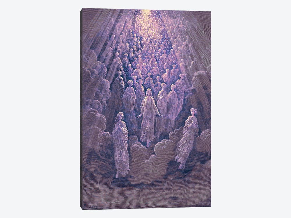 The Angels In The Planet Mercury: Beatrice Ascends With Dante To The Planet Mercury In Purple (Dante's Divine Comedy: Paradiso) by Gustave Dore 1-piece Canvas Artwork