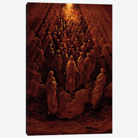 The Angels In The Planet Mercury: Beatrice Ascends With Dante To The Planet Mercury In Red (Dante's Divine Comedy: Paradiso) Canvas Print #BMN6814} by Gustave Dore Canvas Art Print