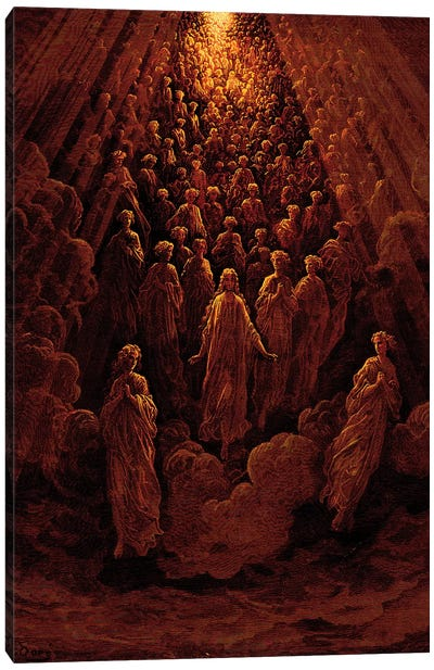 The Angels In The Planet Mercury: Beatrice Ascends With Dante To The Planet Mercury In Red (Dante's Divine Comedy: Paradiso) Canvas Art Print