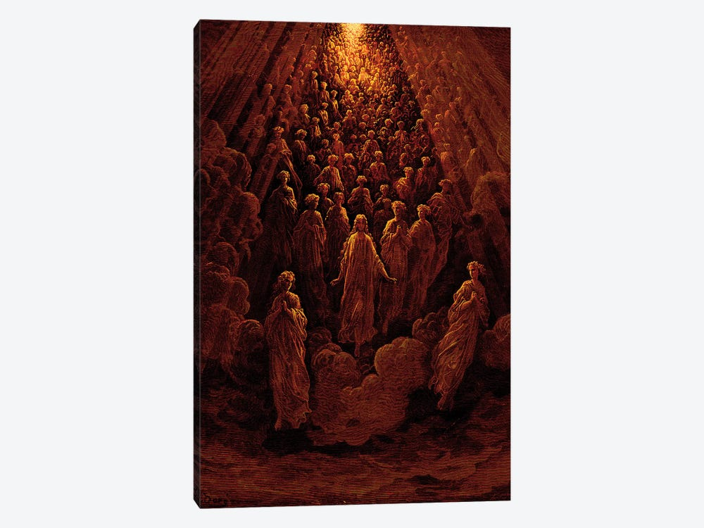 The Angels In The Planet Mercury: Beatrice Ascends With Dante To The Planet Mercury In Red (Dante's Divine Comedy: Paradiso) by Gustave Dore 1-piece Canvas Art Print