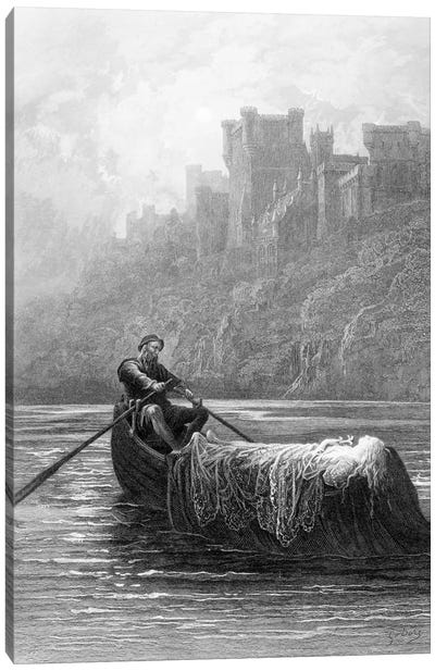 The Body Of Elaine On Its Way To King Arthur's Palace (Illustration From Tennyson's Idylls Of The King) Canvas Print #BMN6815