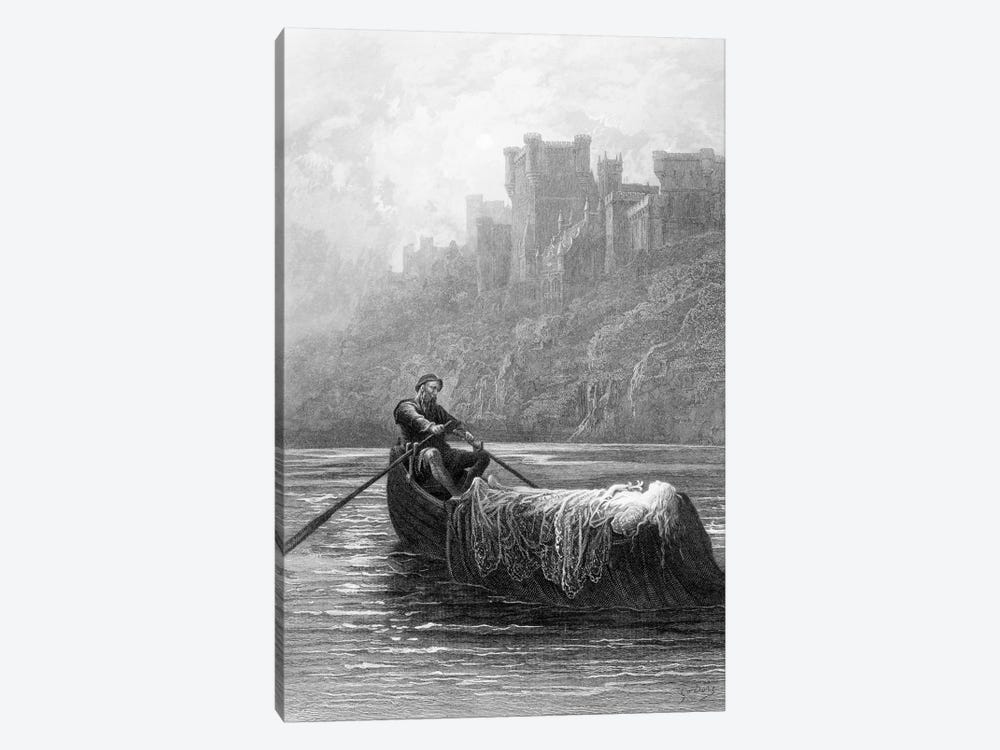 The Body Of Elaine On Its Way To King Arthur's Palace (Illustration From Tennyson's Idylls Of The King) by Gustave Dore 1-piece Canvas Artwork