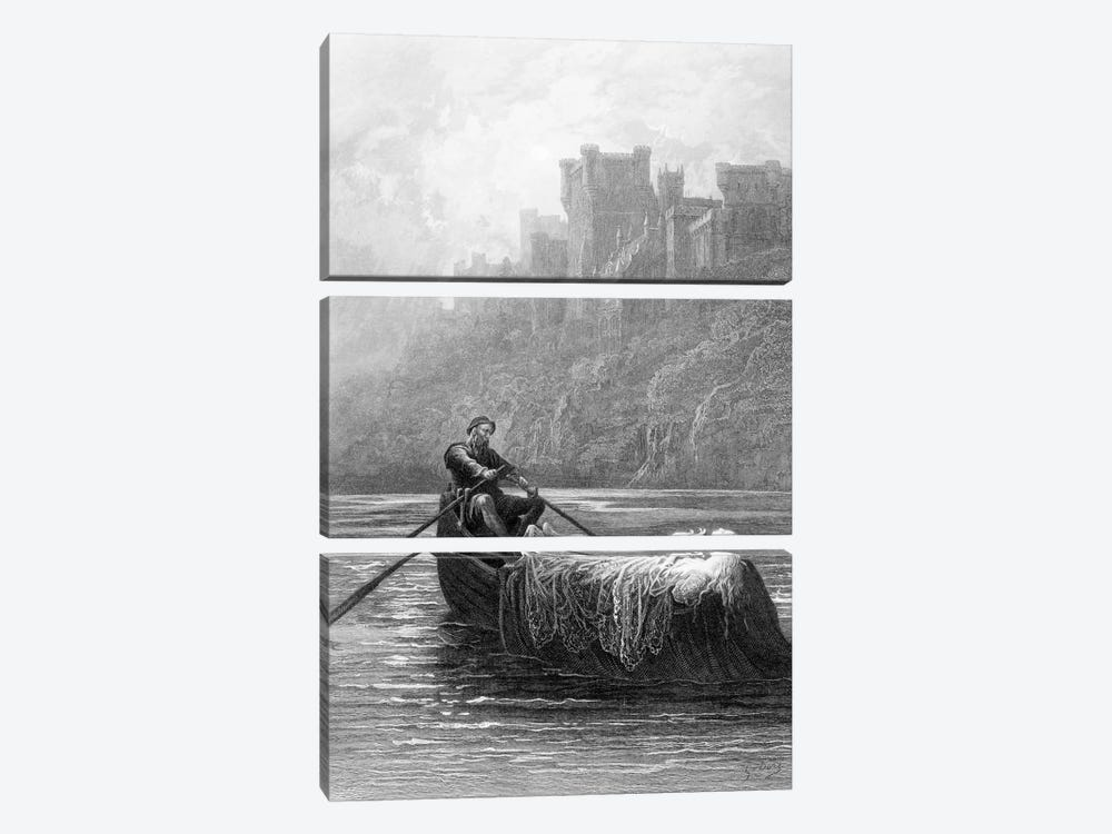 The Body Of Elaine On Its Way To King Arthur's Palace (Illustration From Tennyson's Idylls Of The King) by Gustave Doré 3-piece Canvas Wall Art