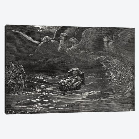 The Child Moses On The Nile, Exodus 2:1-4 (Illustration From Dore's The Holy Bible), 1866 Canvas Print #BMN6816} by Gustave Dore Canvas Print