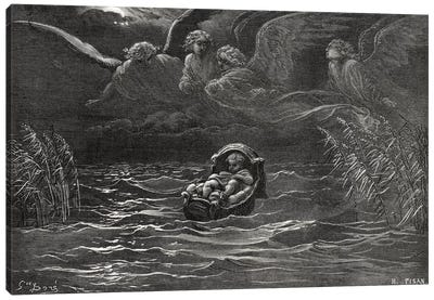 The Child Moses On The Nile, Exodus 2:1-4 (Illustration From Dore's The Holy Bible), 1866 Canvas Art Print