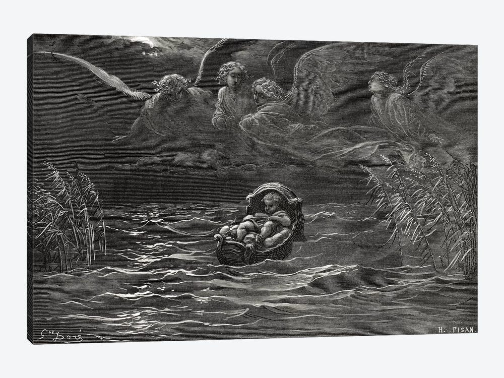 The Child Moses On The Nile, Exodus 2:1-4 (Illustration From Dore's The Holy Bible), 1866 by Gustave Dore 1-piece Canvas Art Print