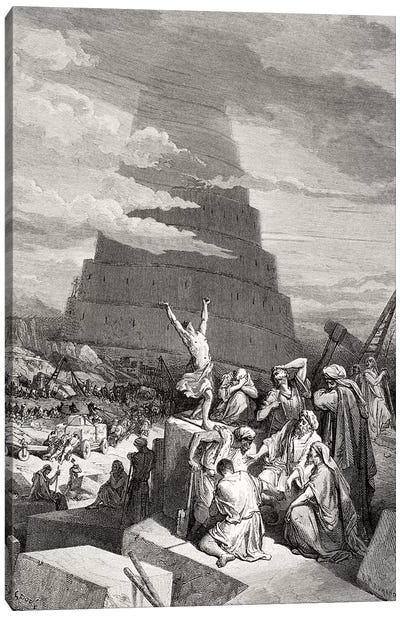 The Confusion Of Tongues, Genesis 11:7-9 (Illustration From Dore's The Holy Bible), 1866 Canvas Art Print