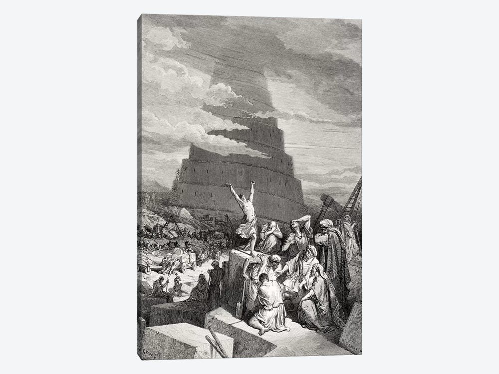 The Confusion Of Tongues, Genesis 11:7-9 (Illustration From Dore's The Holy Bible), 1866 by Gustave Doré 1-piece Canvas Art Print