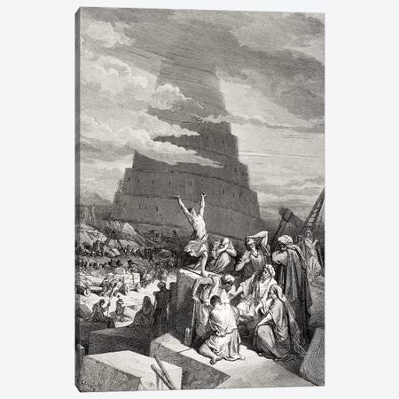 The Confusion Of Tongues, Genesis 11:7-9 (Illustration From Dore's The Holy Bible), 1866 Canvas Print #BMN6818} by Gustave Dore Canvas Art
