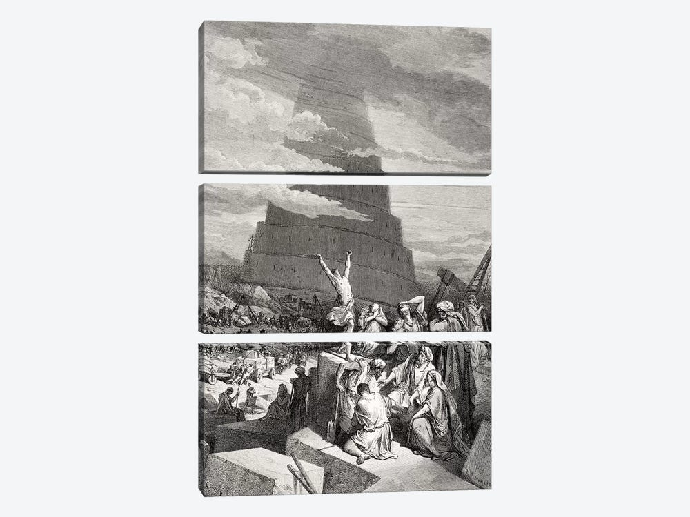 The Confusion Of Tongues, Genesis 11:7-9 (Illustration From Dore's The Holy Bible), 1866 by Gustave Dore 3-piece Canvas Print