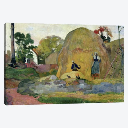 Yellow Haystacks, or Golden Harvest, 1889  Canvas Print #BMN681} by Paul Gauguin Canvas Art