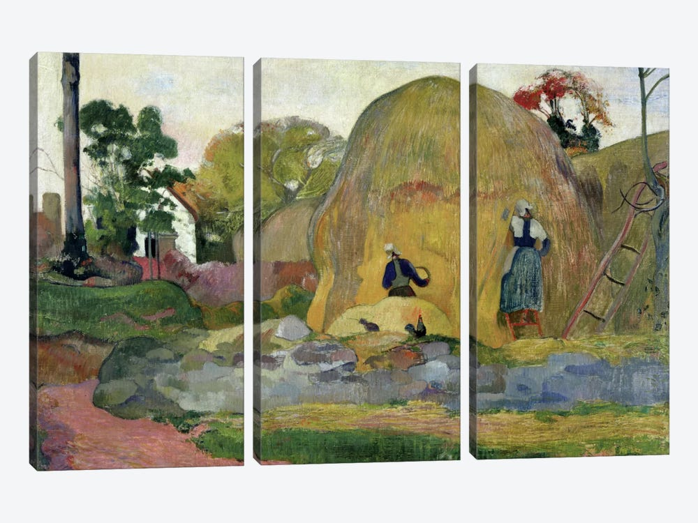 Yellow Haystacks, or Golden Harvest, 1889  by Paul Gauguin 3-piece Canvas Artwork