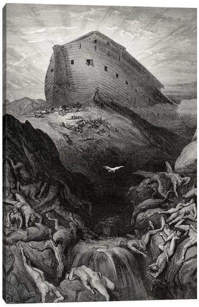 The Dove Sent Forth From The Ark, Genesis 13:8-9 (Illustration From Dore's The Holy Bible), 1866 Canvas Art Print