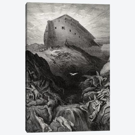 The Dove Sent Forth From The Ark, Genesis 13:8-9 (Illustration From Dore's The Holy Bible), 1866 Canvas Print #BMN6820} by Gustave Dore Art Print