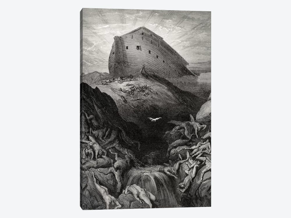 The Dove Sent Forth From The Ark, Genesis 13:8-9 (Illustration From Dore's The Holy Bible), 1866 by Gustave Dore 1-piece Canvas Art