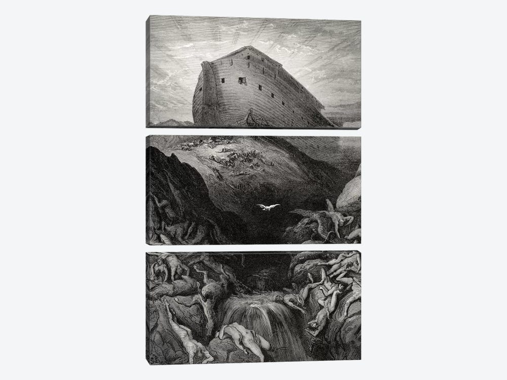 The Dove Sent Forth From The Ark, Genesis 13:8-9 (Illustration From Dore's The Holy Bible), 1866 by Gustave Dore 3-piece Canvas Artwork
