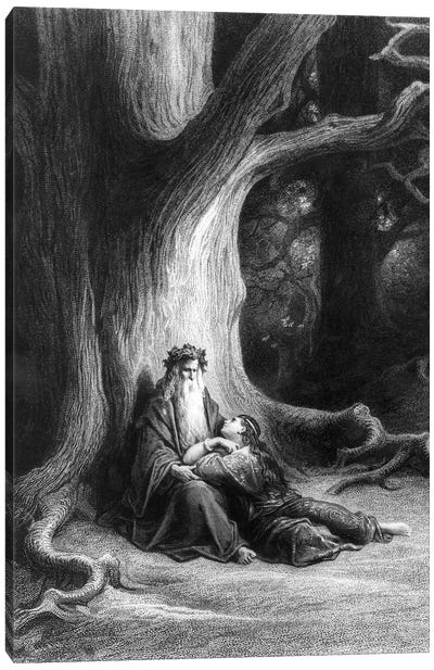 The Enchanter Merlin And The Fairy Vivien In The Forest Broceliande (Illustration From Tennyson's Vivien) Canvas Art Print