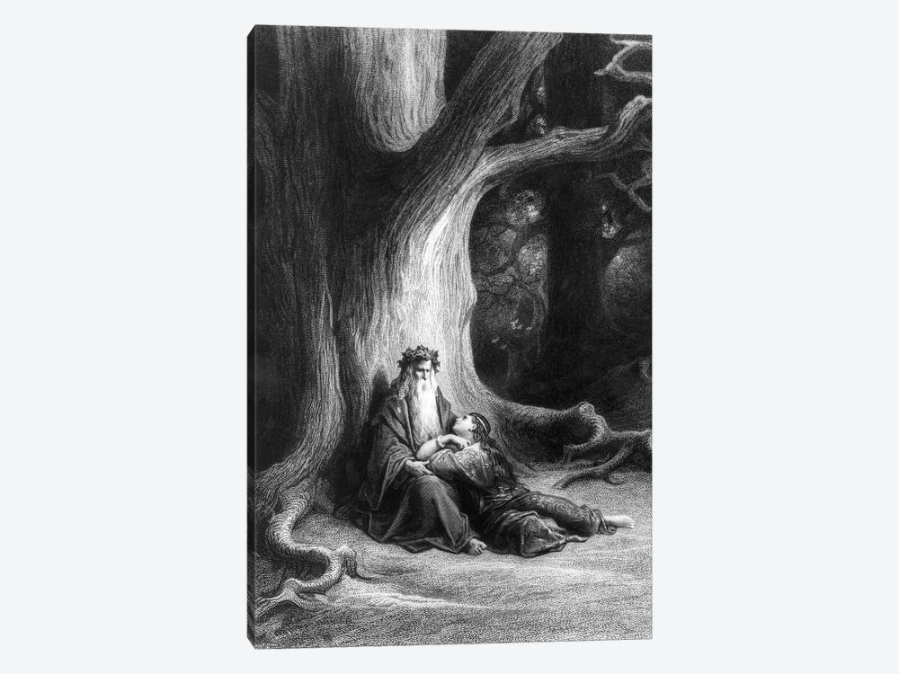 The Enchanter Merlin And The Fairy Vivien In The Forest Broceliande (Illustration From Tennyson's Vivien) by Gustave Dore 1-piece Canvas Art Print