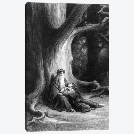 The Enchanter Merlin And The Fairy Vivien In The Forest Broceliande (Illustration From Tennyson's Vivien) Canvas Print #BMN6821} by Gustave Dore Canvas Print